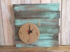 Unique Clock, Burlap Wood Clock, Rustic Home Decor, Shabby Chic Wall Decor, Wall Clock, Shabby Chic Clock, Turquoise Clock, Pallet Clock by UrbanHoot on Etsy https://www.etsy.com/listing/246309919/unique-clock-burlap-wood-clock-rustic