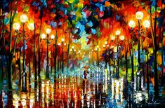 Leonid Afremov, oil on canvas, palette knife - I love this piece of artwork, the way it depicts a rainy, cold night contrasted with the warmth of the lamp lights and a single figure surrounded by ripples and reflections of light. Its a calm place, you'd feel at ease here. And yet you could imagine this scene without the warm lights, the mood would be very different, possibly a sense of paranoia. (Leonid Afrenov, 2014)