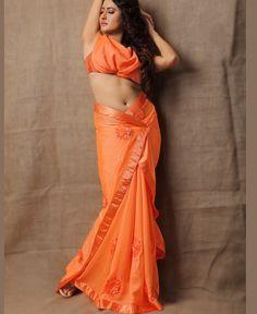 Ribbon Work, Georgette Sarees, Party Wear Sarees, Beautiful Saree, Saree Blouse Designs, Tie Dye Skirt, Sari, Indian, Orange
