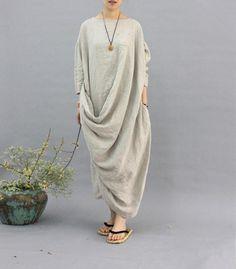 100% linen kaftan,extravagant long dress, holiday trip,women linen maxi dress, asymmetry robe dress {Matrial} 100% linen {Measurements} Free Size cuff:2
