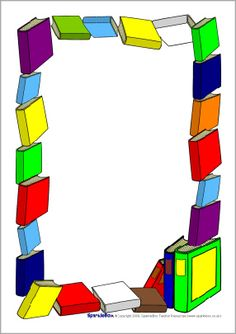 Book-Themed Page Borders Borders Books, Borders For Paper, Borders And Frames, Printable Border, Printable Labels, Page Borders Free, Paper Picture Frames, Classroom Welcome, School Border