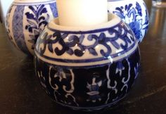 Blue and White Ceramic Ball votive/candle holders chinese