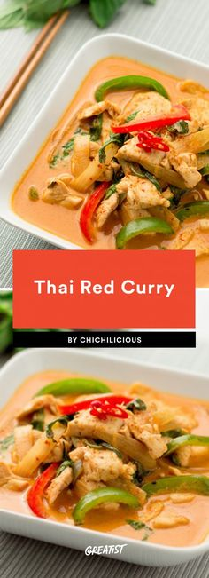 "11 Thai-Rezepte, die viel besser sind als zum Mitnehmen ""Easy"" and ""curry"" don't often go in the same sentence, but we're here to tell you that making an amazing curry is more than doable. This Thai Red Curry recipe uses coconut milk, red Thai curry paste Thai Curry Recipes, Asian Recipes, Red Thai Curry Vegetarian, Thai Red Chicken Curry, Thai Kitchen Red Curry Paste Recipe, Thai Red Curry Sauce Recipe, Thai Red Curry Soup, Healthy Thai Recipes, Thai Chicken Recipes"