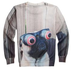 3D dog brown crew neck sweatshirt for youth creative animal style