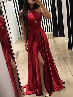 Distinct Long Prom Dress, Red Prom Dress, A-Line Prom Dress Ballkleider Rot Ballkleider Lang A-Linie Ballkleider Abschlussball-Kleider lang Red Prom Dresses Uk, Dresses For Big Bust, Red Gowns, Backless Prom Dresses, Cheap Prom Dresses, Satin Dresses, Evening Dresses, Dress Red, Dress Long