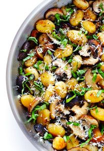 Gimme Some Oven Toasted Gnocchi with Mushrooms, Basil and Parmesan | Gimme Some Oven