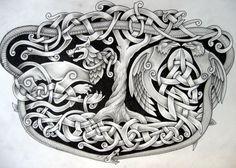Fenrir Hugin Mugin Jormungandr Yggdrasil by Tattoo-Design.deviantart.com