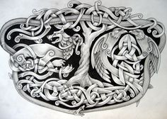 Norse tattoo idea. Yggdrasil intertwined with Fenrir, Hugin and Munin, and Jormungand encircles them all.