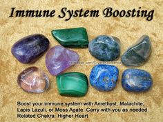 Crystals for Immune System — Boost your immune system with Amethyst, Malachite, Lapis Lazuli, or Moss Agate. Carry with you as needed. Related Chakra: Higher Heart