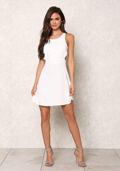Ivory Racerback Cut Out Flare Dress - Little White Dress - Dresses