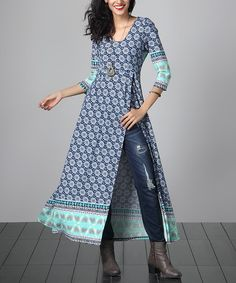 This Blue Floral Empire-Waist Split-Hem Tunic is perfect! #zulilyfinds