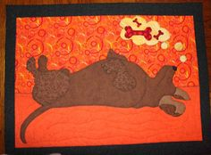 dreaming dachshund quilted wall hanging, chris wells, craftsy.com