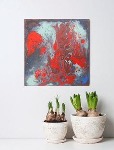 ON SALE Abstract art small paintings blue red canvas ready to hang wall art home decor gift ideas - EUR Fiery Red, Small Paintings, Love Art, Online Art, Planter Pots, Abstract Art, Wall Art, Canvas, Shops