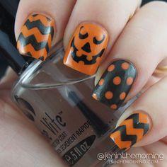 Orange and Black Halloween Manicure   #nail #nails #manicure #mani #jack-o-lantern #chevron #halloween #orange #black
