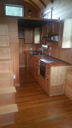 A 160 square feet custom tiny house on wheels. Built by Shibui Woodworking and Tiny Homes.