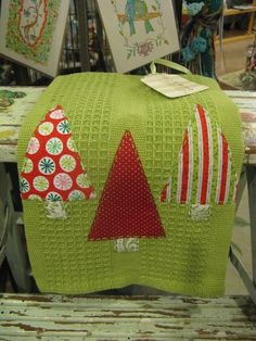 Christmas Kitchen Towel - Applique and Handsewn