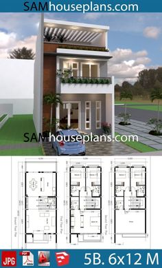 Desain Rumah Type 45 18 2 Storey House Design, Duplex House Design, House Front Design, Small House Design, Modern House Design, Duplex House Plans, House Layout Plans, Bedroom House Plans, House Layouts