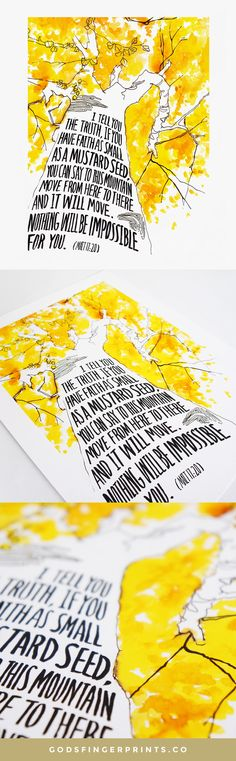 """Scripture wall art print of the Bible verse Matthew """"I tell you the truth, if you have faith as small as a mustard seed."""" This artwork features a watercolor painting of a yellow tree, a great reminder of Christian truth. Christian Friends, Christian Gifts, Faith Verses, Bible Verses, Mustard Seed Faith, Matthew 17, Yellow Tree, Scripture Wall Art, Prayer Room"""