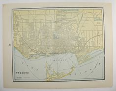 Vintage Map Toronto Canada Montreal Map 1894 City Street Map, Genealogy Research, Gift Idea for Home Decor, Antique Art Map to Frame by OldMapsandPrints on Etsy