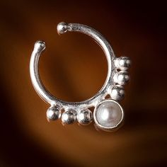 Silver Fake  septum for non pierced nose, faux septum,clip on septum piercing,septum (code 6)