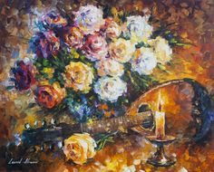 Leonid Afremov, oil on canvas, palette knife, buy original paintings, art,  famous artist, biography, official page, online gallery, scape,  outdoors, autumn, town, park, leaf, fall, European cities,  city, night, streets, rain, Italy, Venice