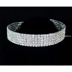 janefashions 5-row Clear Austrian Rhinestone Crystal Choker Necklace... ($19) ❤ liked on Polyvore featuring jewelry, necklaces, silver crystal necklace, choker necklace, silver rhinestone necklace, crystal choker and rhinestone choker