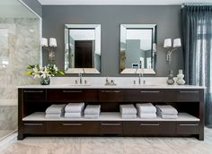 Atmosphere Interior Design - bathrooms - gray walls, gray wall color, white marble floor tile, white marble tiled floors, white marble showe...