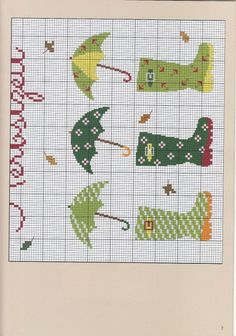 Boots and 'brellas page 1 of 2 Cross Stitch Sea, Cross Stitch Bookmarks, Cross Stitch Needles, Cross Stitch Flowers, Cross Stitch Charts, Cross Stitch Designs, Cross Stitch Patterns, Cross Stitching, Cross Stitch Embroidery