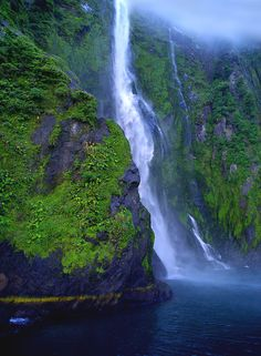 ✯ Stirling Falls in a very misty Milford Sound - New Zealand