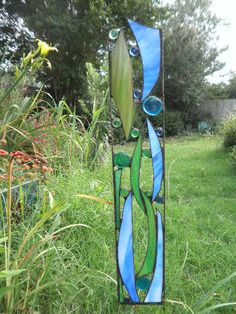 Stained Glass Garden Sculpture Seapoint by FeralGlass on Etsy, $68.00