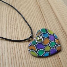 Funky FIMO Polymer Clay Heart Pendant £7.00