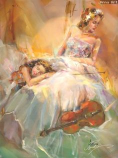 Summer Melody Oil Painting by Anna Razumovskaya Oil Painting For Sale, Paintings For Sale, Oil Paintings, Anna Razumovskaya, Romanticism, Art Themes, Art Music, Beautiful Paintings, Female Art