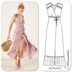 Monday -After a great weekend 🌴 Long Dress Patterns, Dress Sewing Patterns, Clothing Patterns, Fashion Sewing, Diy Fashion, Fashion Outfits, Fashion Design Sketchbook, Fashion Sketches, Fashion Artwork