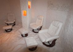 Salt therapy (halotherapy) -- sitting in an artifically made salt cave, the latest trend for better skin and respiratory health.