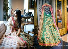 A luscious bottle green, heavily embroidered pure silk lehenga with resham work, teamed with a marvelous golden blouse and white dupatta by Jade by Monica & Karishma at WeddingSutra on Location. #WeddingSutraP2W