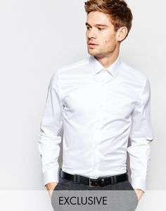 Super fede Number Eight Savile Row Exclusive Shirt with Point Collar in Skinny Fit - White Number Eight Savile Row Plain til Herrer til hverdag og til fest