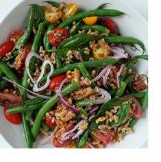 Green Bean, Farro Salad with Walnuts and Basil -  Heart-healthy toasted walnuts add a delicious crunch to this truly tasty salad that's perfect as a packed lunch or as a side dish at your next outdoor dinner