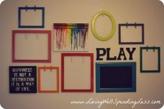 Clothespin Frames for Hanging Children's Artwork! {I have a few frames in the garage calling my name for a summer project now}.
