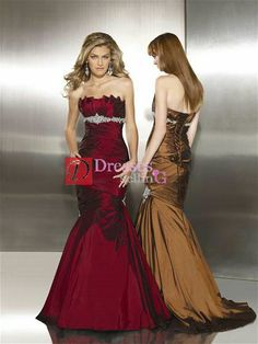 Roaching is great and I like the embellishment on the empire waist. I also like the embellishment to the side and the way it slants at the seam between the toss and the bigger part of the dress. Seems like a manageable size.  I don't like the fact that it's taffeta nor the neckline at all.