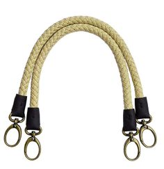 52cm Bag Handle Bh02 Linen Plait With Leather Wrap And Metal Hooks 1 Pair