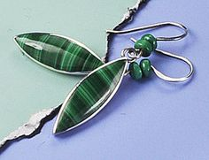 Malachite Silver Earrings Sterling Silver and by BOBOJewelryShop