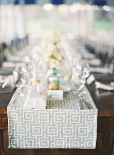 Table Runner - Sewn with love by the bride's grandmother - See the wedding on http://www.StyleMePretty.com/2014/04/02/nautical-elegance-at-the-larchmont-yacht-club/ JenHuangPhotography.com