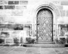 Black and White Door Photo Foyer Wall by PaulaGoffPhotography