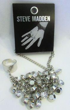 """Steve Madden SM00566-B01 """"Glitz Glam"""" Shaky Faceted Bead Silver Hang Ring NWT #SteveMadden #Elegant"""