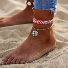 """Anklets Our """"Summer vibes"""" bohemian anklet is a fierce boho statement piece, perfect for adding an edge to your summer outfits! - Our """"Summer vibes"""" bohemian anklet is a fierce boho statement piece, perfect for adding an edge to your summer outfits! Anklet Jewelry, Anklet Bracelet, Boho Jewelry, Women Jewelry, Fashion Jewelry, Jewellery, Silver Jewelry, Jewelry Clasps, Bohemian Necklace"""