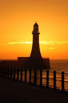 Sunrise, Roker lighthouse, Sunderland, England.