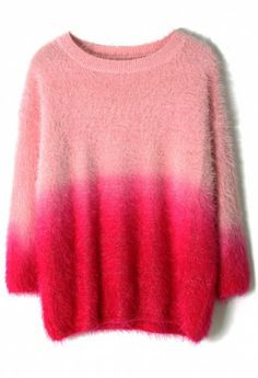 Pink Color Ombre Fluffy Sweater