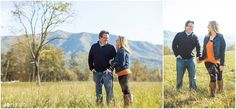 Fall engagement photos in Cades Cove in the Great Smoky Mtns National Park. Fall engagement photos with leaves in Knoxville TN. Click to view more pictures! Knoxville wedding photographer, fall engagement pictures, Tennessee photographer