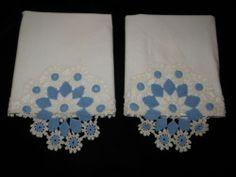 Vintage Pair Hand Crochet Pillowcases Blue White 100 Cotton Pretty | eBay