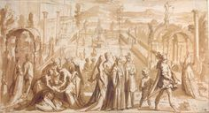 Author: Mander, Karel van, I. Title: Courtly Scene in a Palace Garden Place: Holland Date: Circa 1600 Technique: pen and brush and brown wash over preparatory drawing in black chalk Dimensions: cm Palace Garden, Hermitage Museum, Antelope Canyon, Scene, Van, Architecture, Places, Architectural Drawings, Etchings